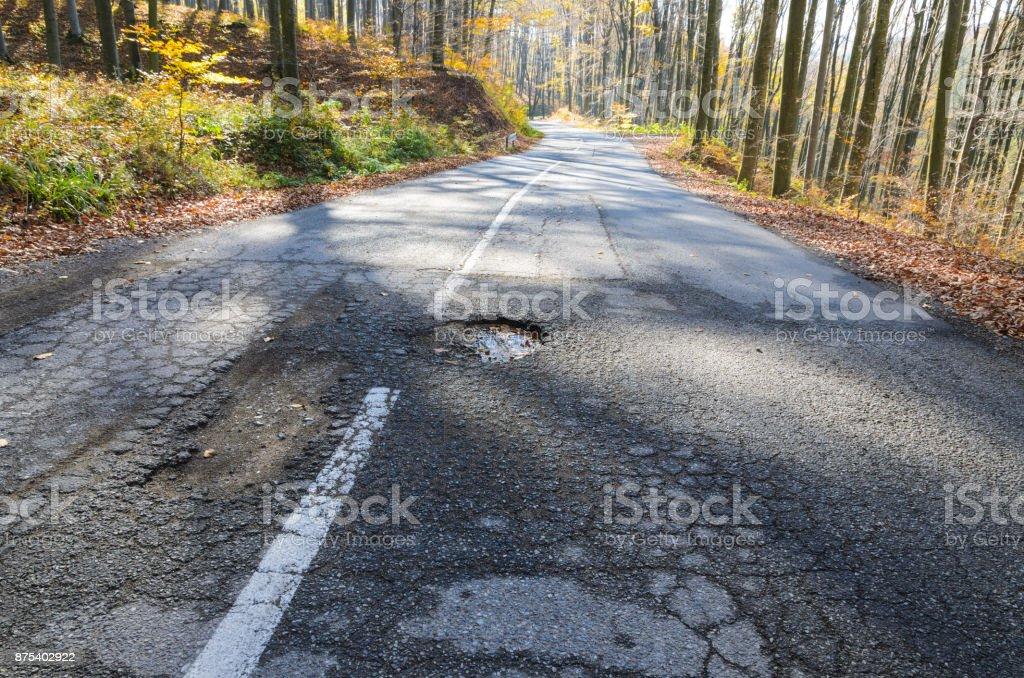 Big pothole on open road stock photo