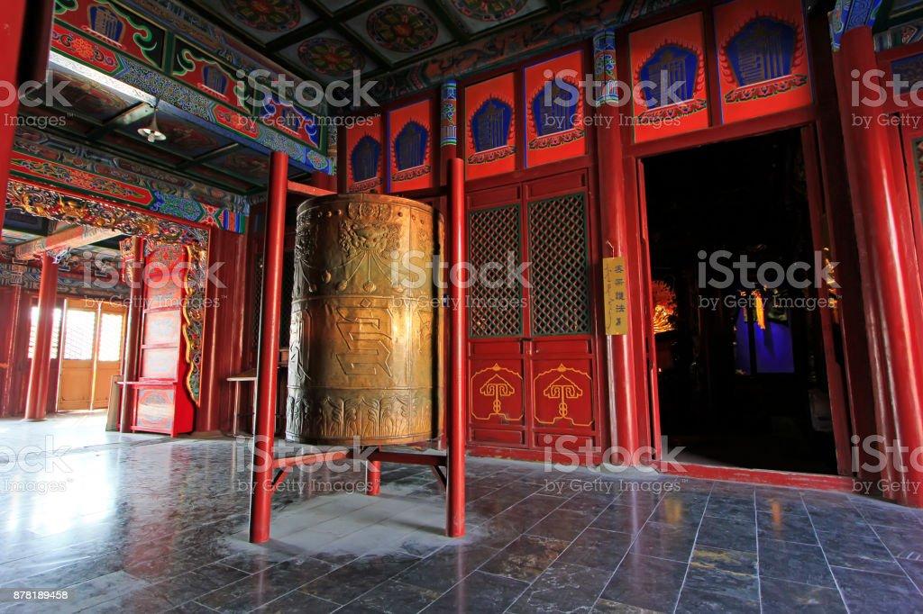 Big prayer wheel in the Dazhao Lamasery, on February 6, 2015, Hohhot city, Inner Mongolia autonomous region, China stock photo