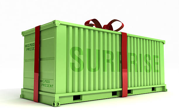 Big Present on a cargo container stock photo
