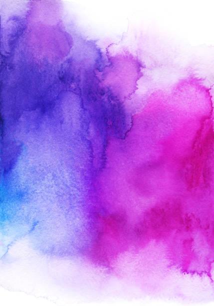 big purple blue pink watercolor background, divorce, spot and spray - acquerello foto e immagini stock