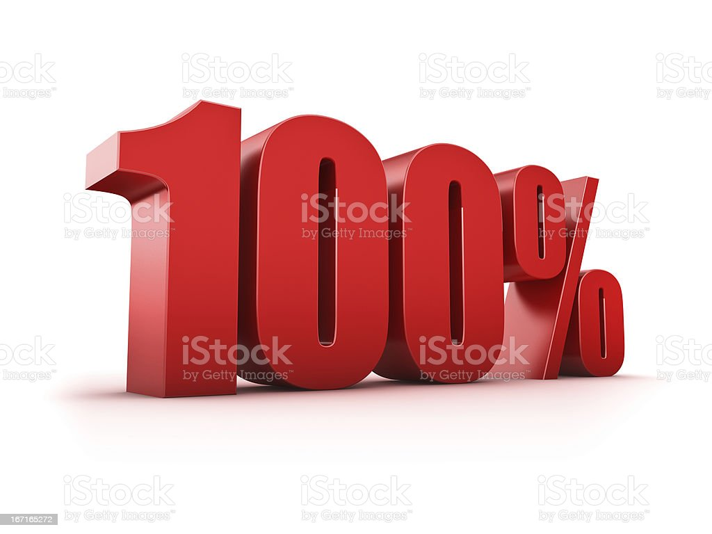 Big red 100% letters on a white background stock photo
