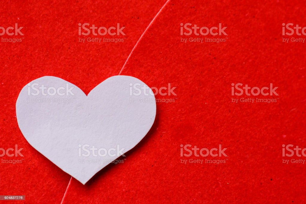 Big red and white heart paper on red paper background. valentines day concept. stock photo
