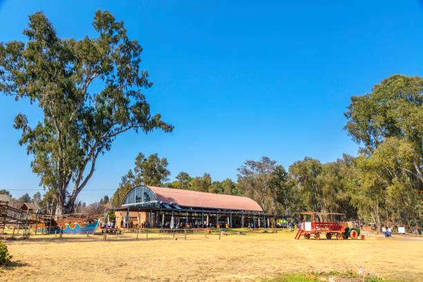 Big red barn restaurant and Irene market stock photo