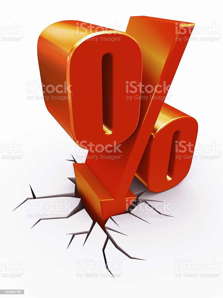 Big red block showing discount percentage of 0% with cracks stock photo