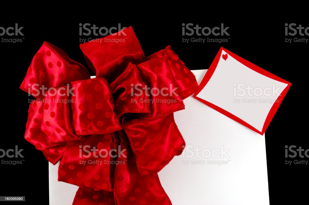 Big Red Bow on Valentine Gift royalty-free stock photo