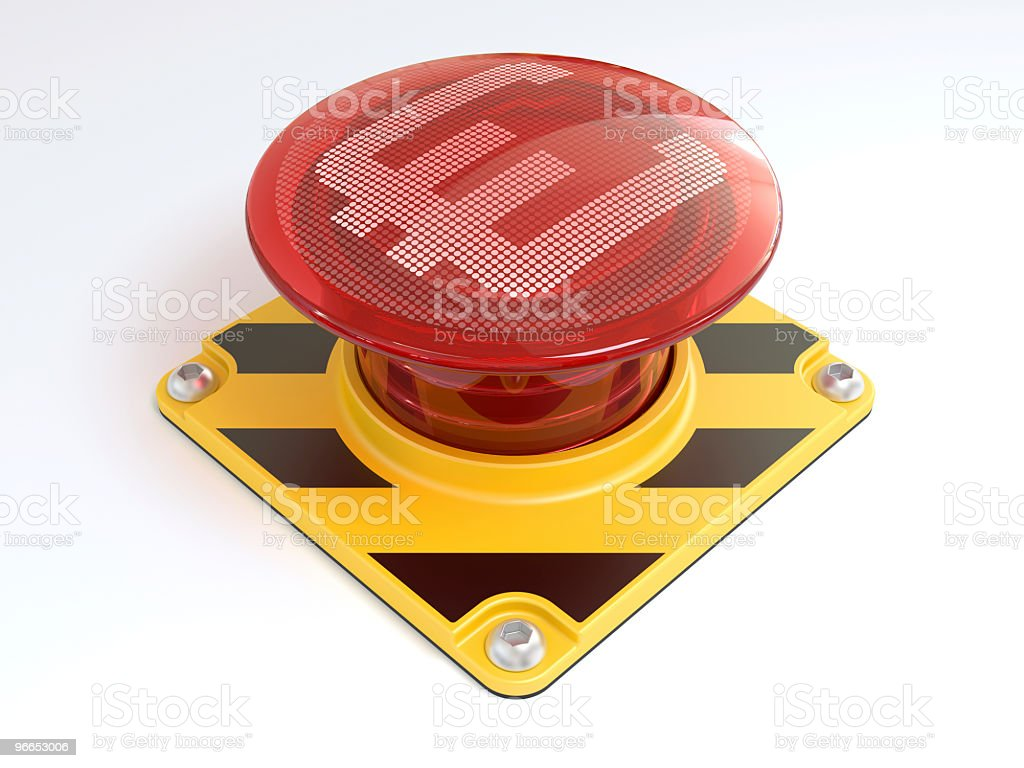 Big red button with euro sign. royalty-free stock photo