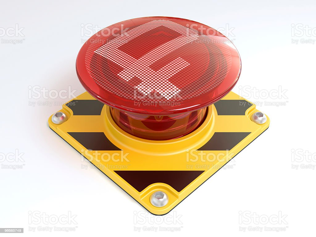 Big red button with rouble sign. royalty-free stock photo
