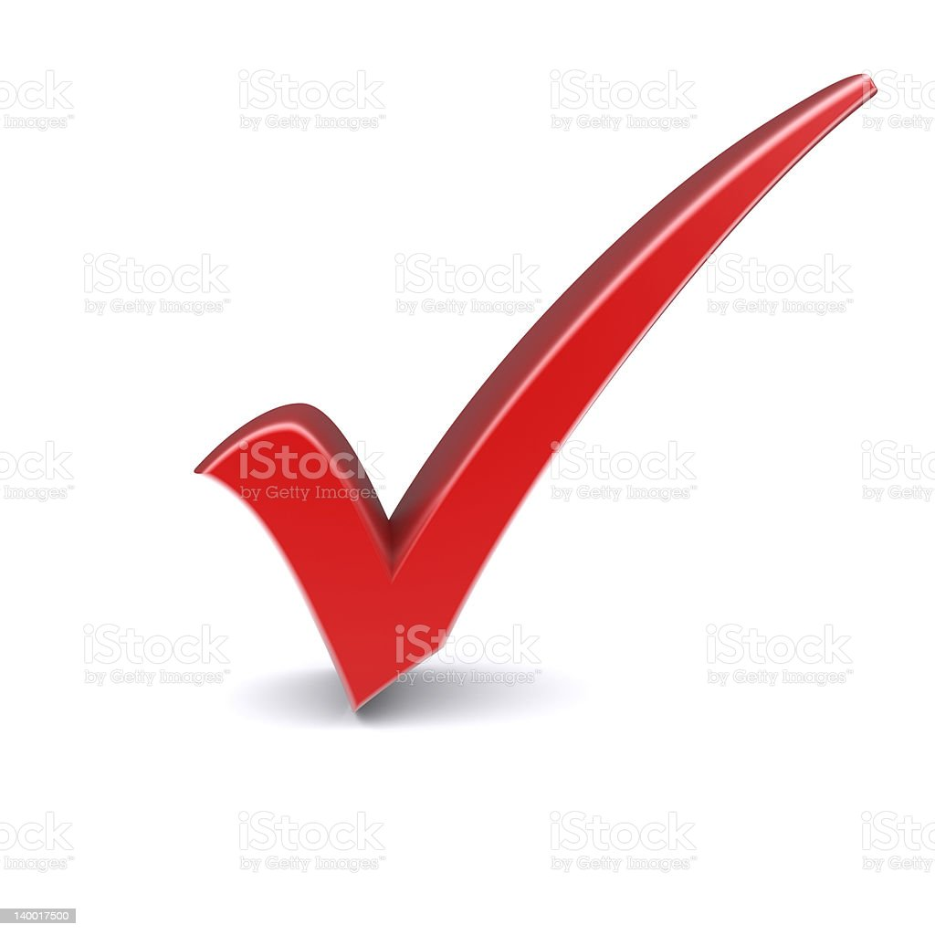 A Big Red Check Mark On A White Background Stock Photo More