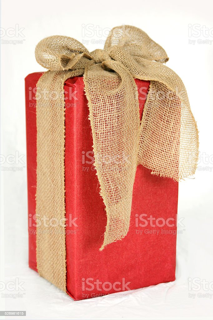 big red christmas gift box wrapped in burlap bow royalty free stock photo - Big Christmas Gifts