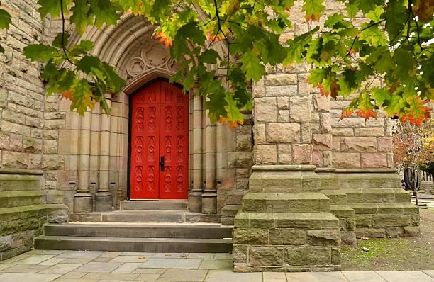 Big Red Church Doors stock photo