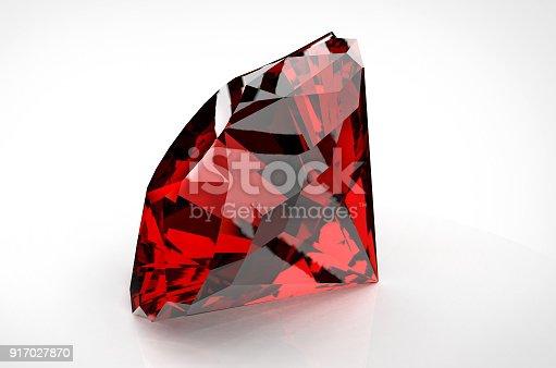 istock Big red diamond isolated on white background 917027870