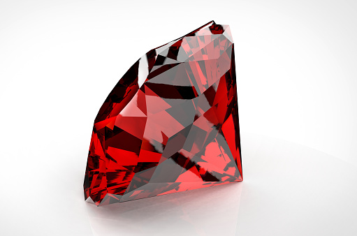 istock Big red diamond isolated on white background 917027870