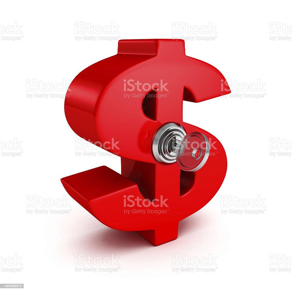 big red dollar symbol with lock key stock photo