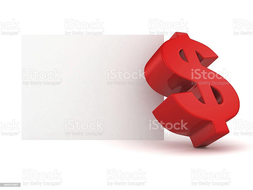 big-red-dollar-symbol mit info-text banner Weiß – Foto