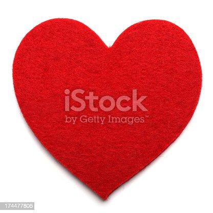 Red Felt Heart - Isolated on White