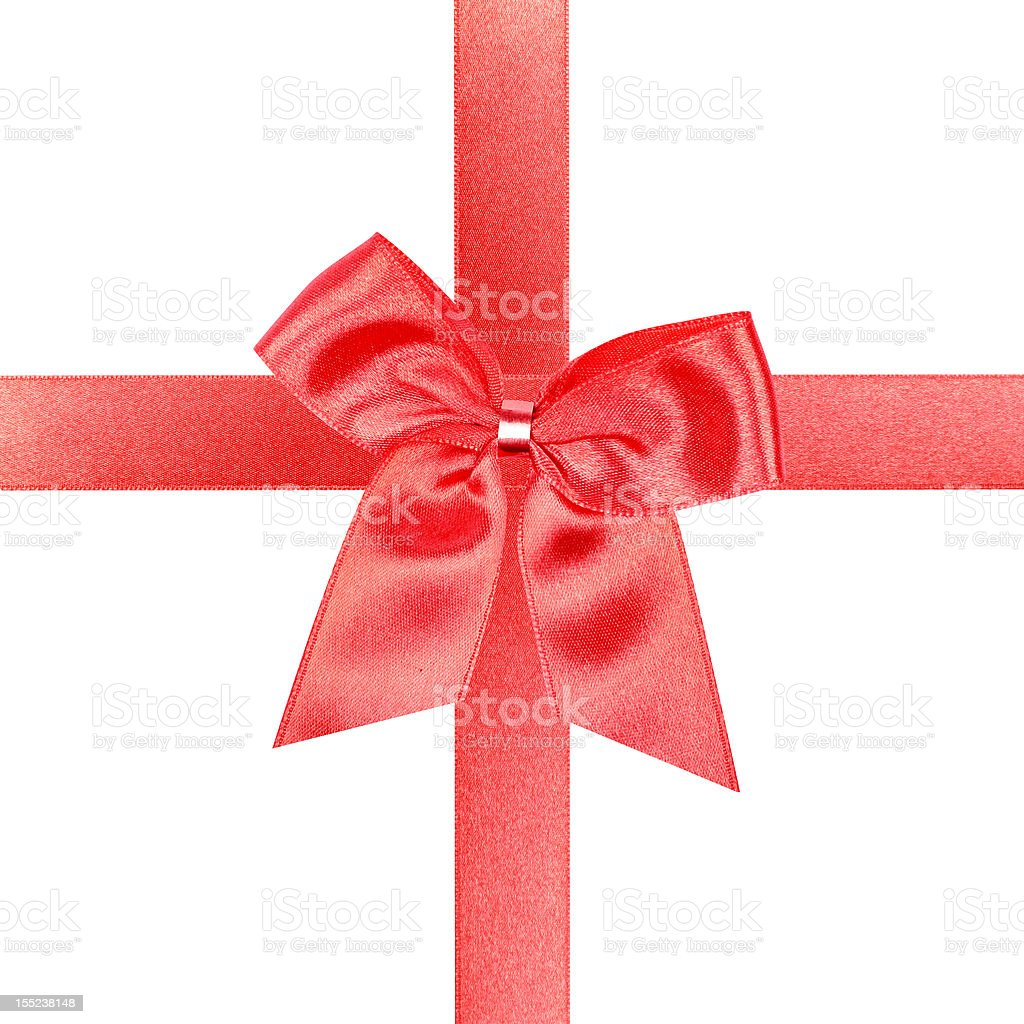 Big red gift bow stock photo