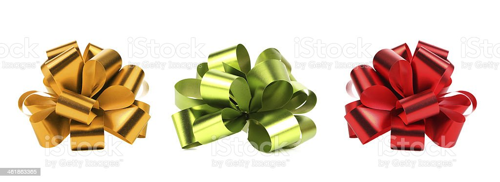 Big red green and yellow bows. stock photo