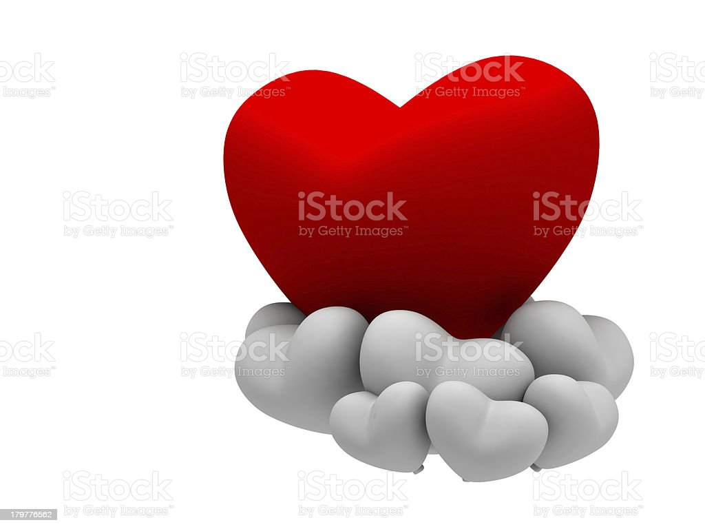 big red heart with multiple white stock photo