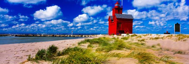 Big Red Lighthouse, Holland, MI Shoreline stock photo