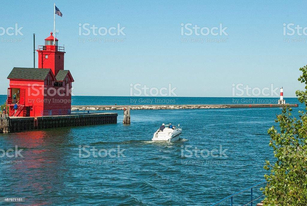 Big Red Lighthouse Holland Michigan stock photo