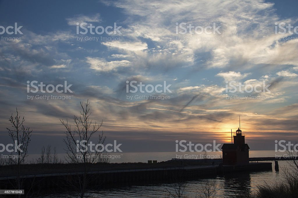 Big Red Lighthouse stock photo
