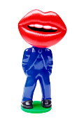 Big Red Lips on Blue Suit Body