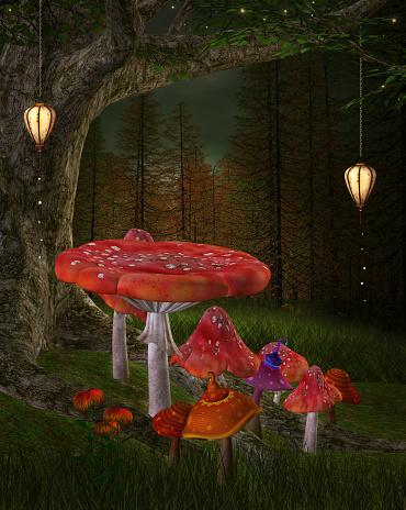 istock Big red mushrooms in a fantasy woodland 1140006247