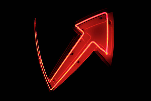 Big Red Neon Arrow Bouncing Back Recovery stock photo