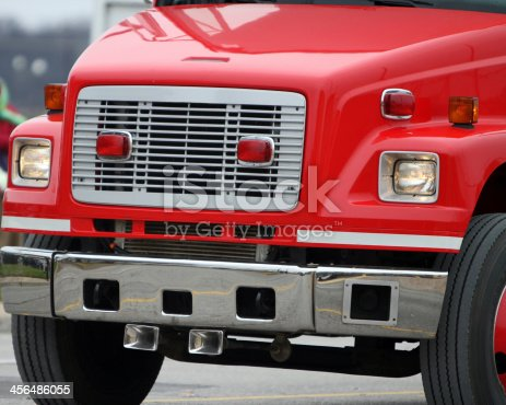 Freightliner truck bright red.