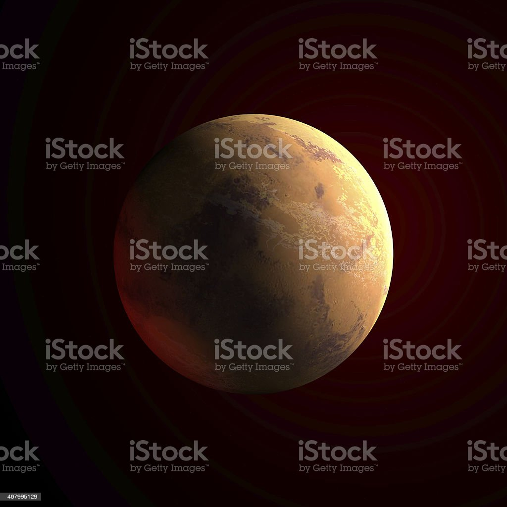Big red planet on dark sky stock photo