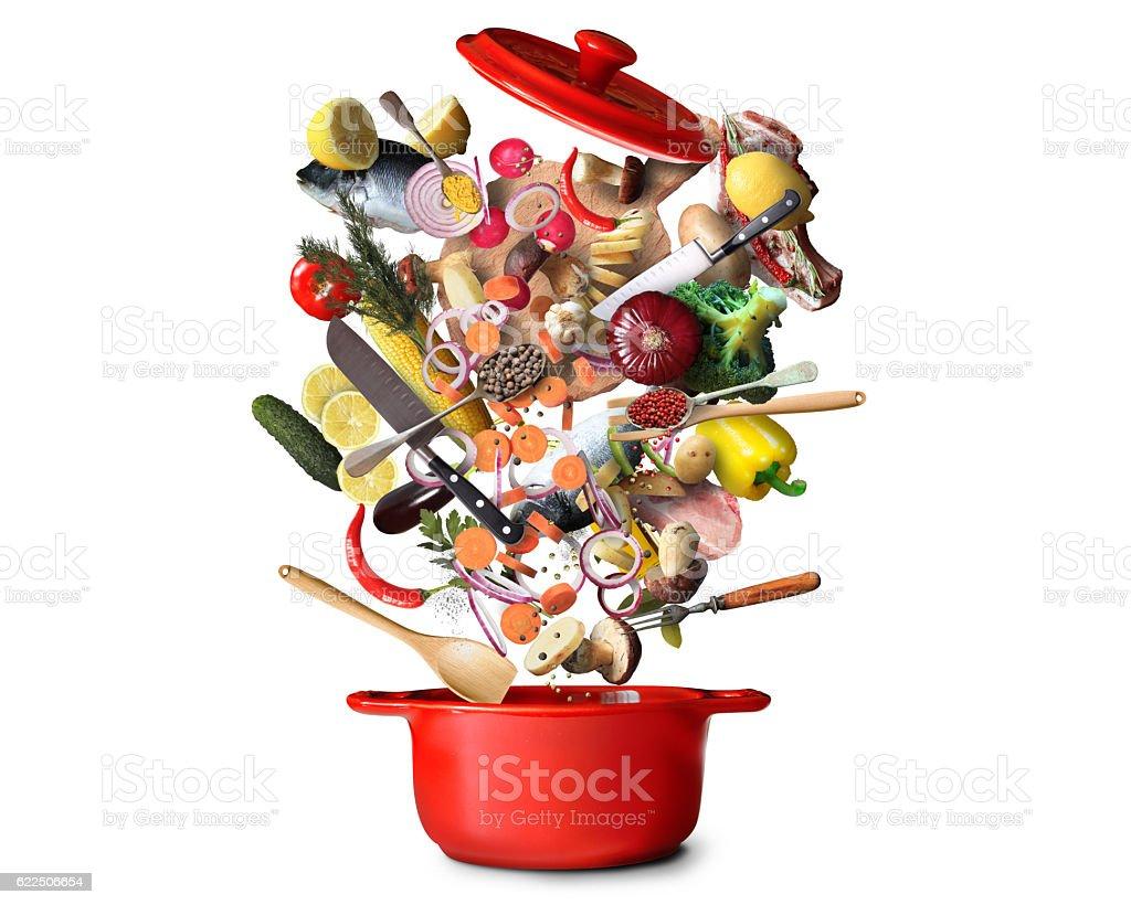 Big red pot stock photo