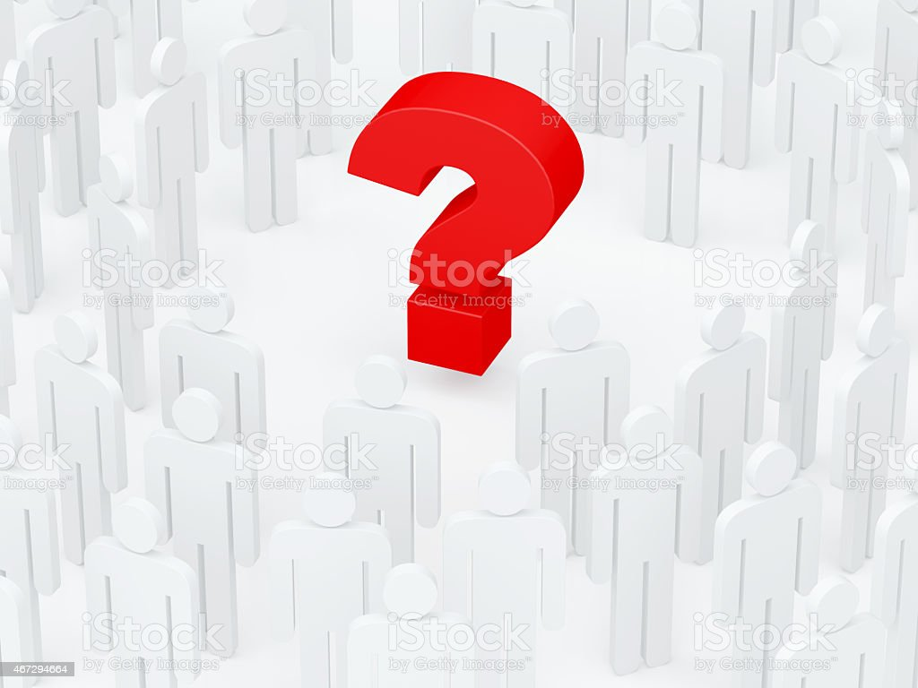 Big red question mark surrounded by human crowd (3D render) stock photo