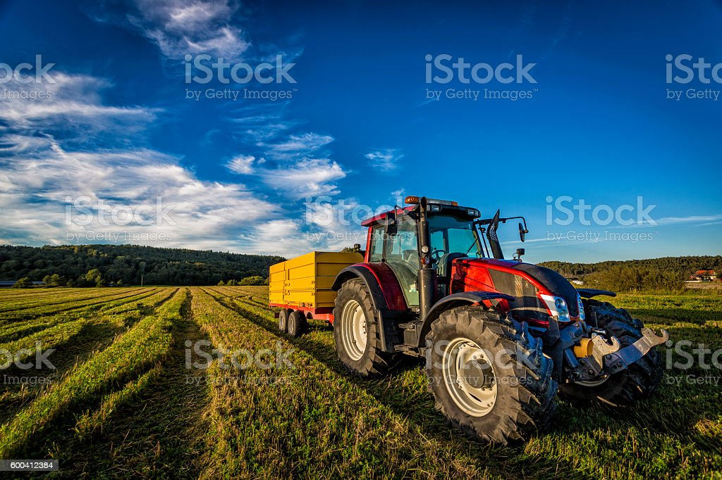 Big red tractor stock photo