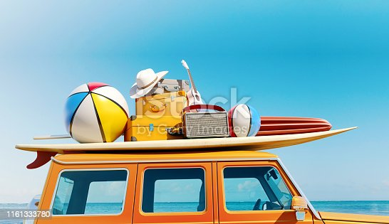 Big retro car SUV with baggage, luggage and beach equipment on the roof, fully packed, ready for summer vacation, concept of a road trip with family and friends, 3d rendering