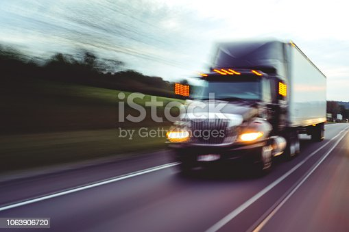 Tractor trailer truck on highway road
