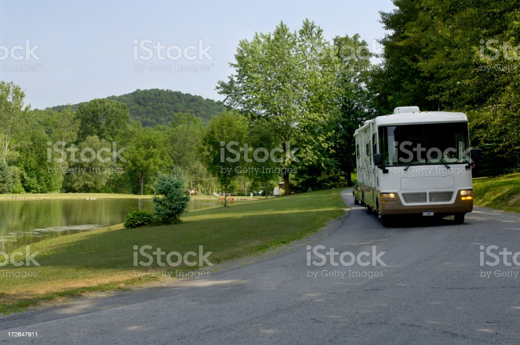 Big rig rolling down the road royalty-free stock photo