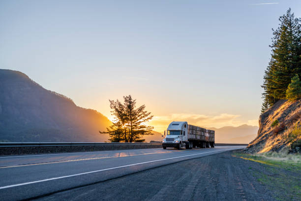 Big rig semi truck transporting boxes with apples on flat bed semi trailer on evening road Big rig American white long haul powerful semi truck transporting boxes with fruits on flat bed semi trailer on straight evening road with scenic sunset in Columbia River Gorge commercial land vehicle stock pictures, royalty-free photos & images