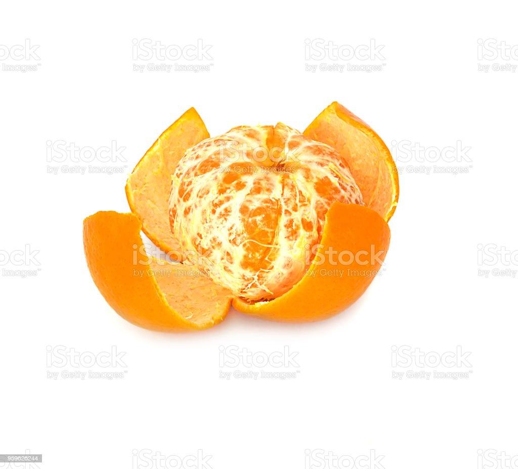 mandarina grande, maduro, brillante, sobre fondo blanco, fruta jugosa en el fondo aislado. mandarín - Foto de stock de Agricultura libre de derechos