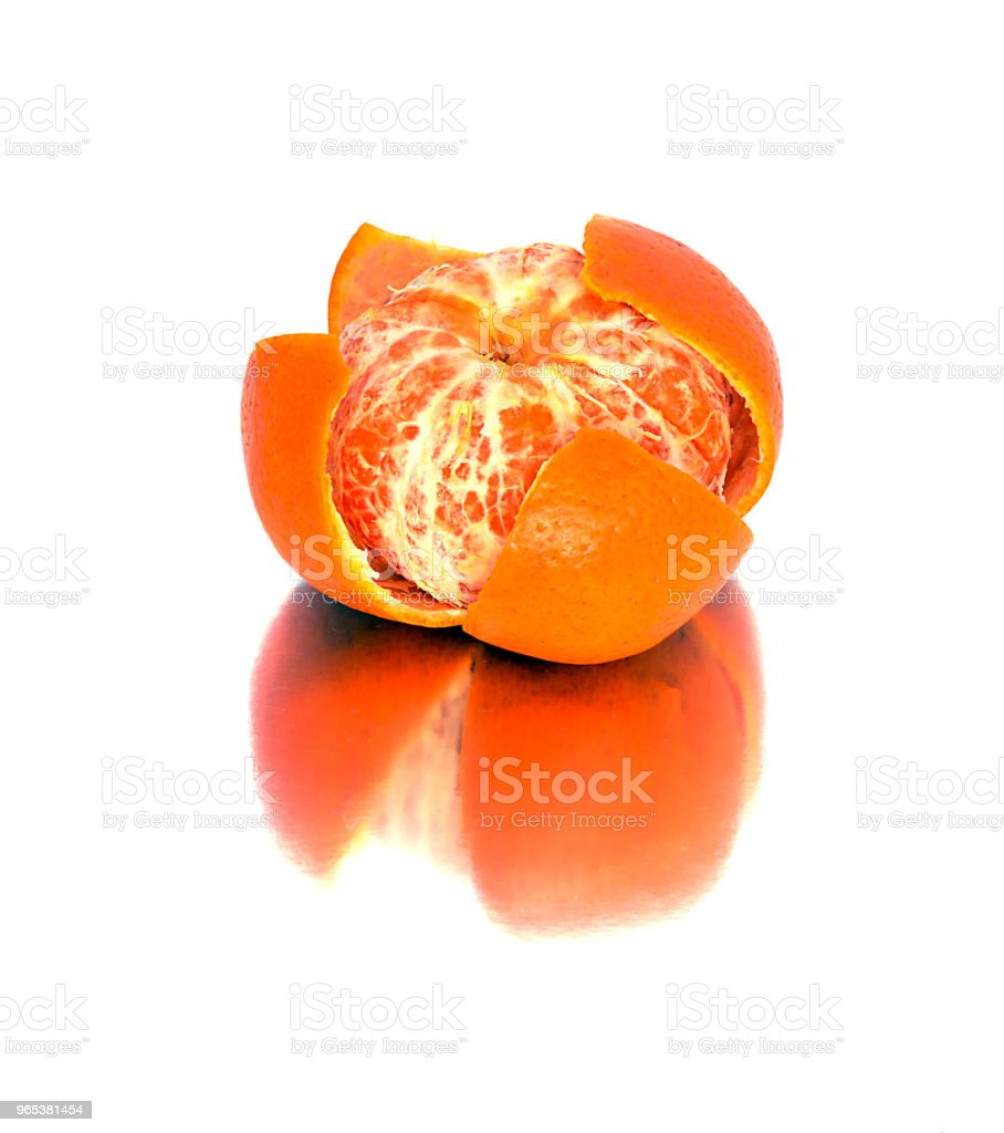 big, ripe, bright, tangerine on a white background, juicy fruit on the isolated background. mandarin royalty-free stock photo