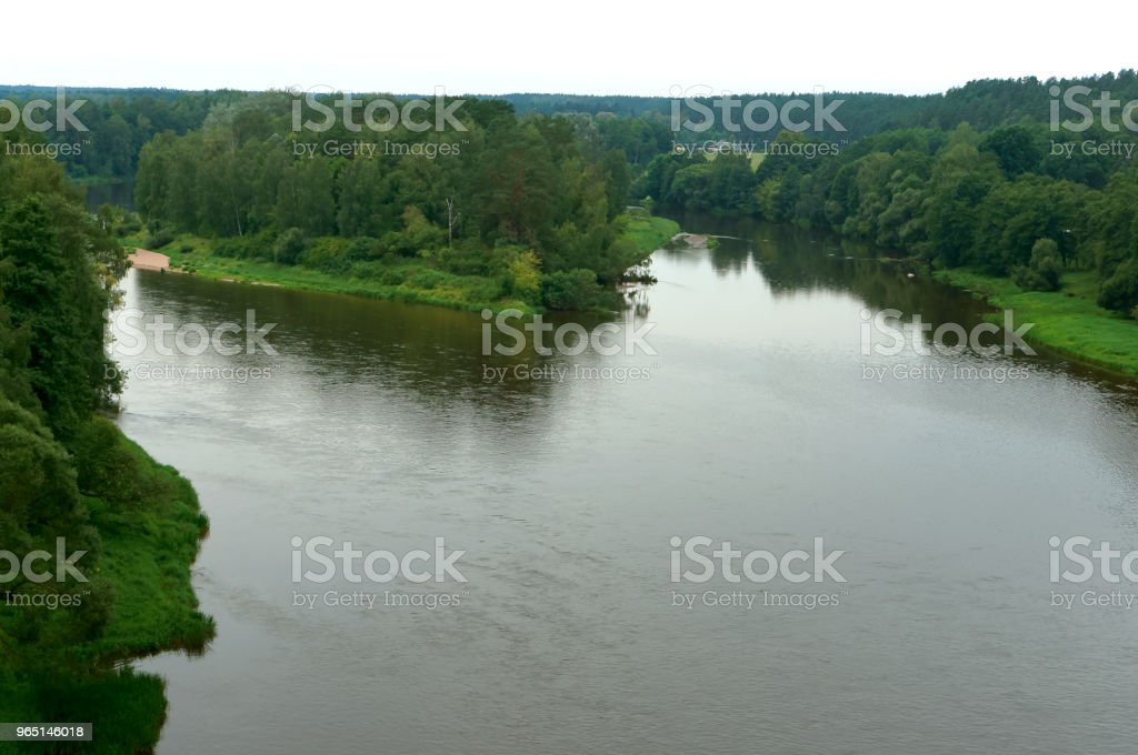 big river, the river flows among the thickets royalty-free stock photo