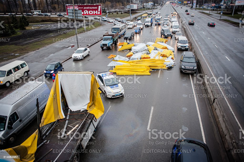 Big road accident in the outskirts of Kiev stock photo