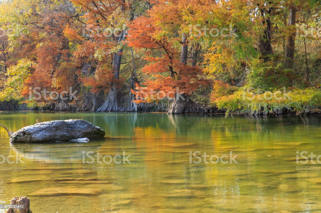 Big rock Guadalupe River State Park stock photo
