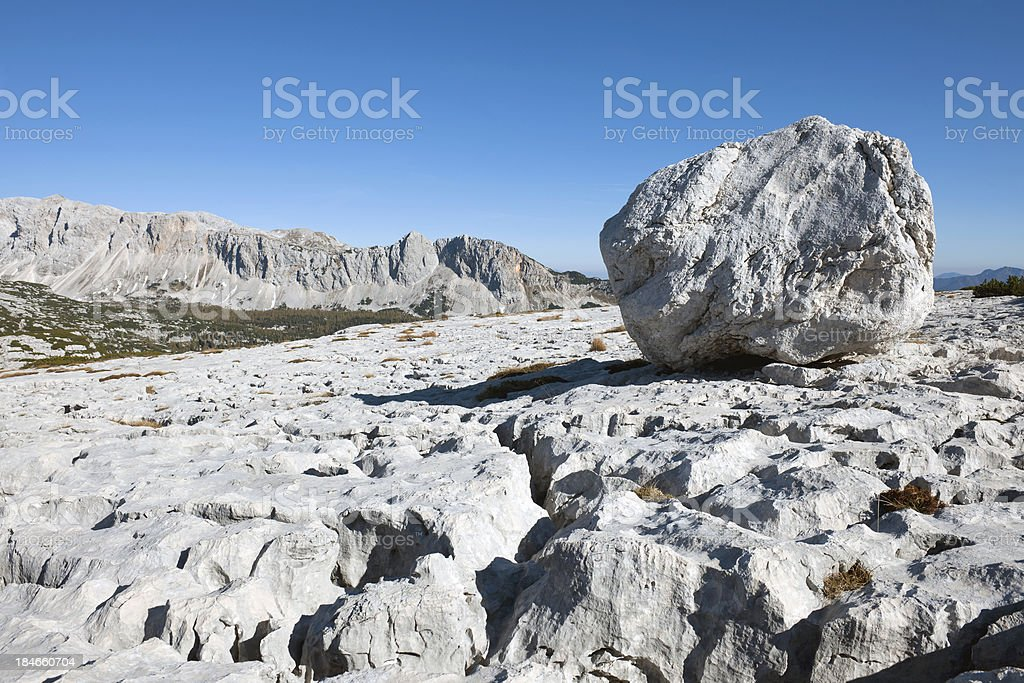 Big Rock in Karst Area of Julian Alps stock photo