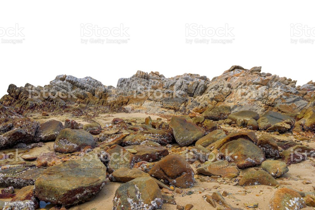 Big rock on isolated white background. stock photo