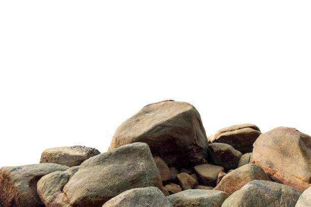 big rock on isolated white background. - boulder rock stock pictures, royalty-free photos & images