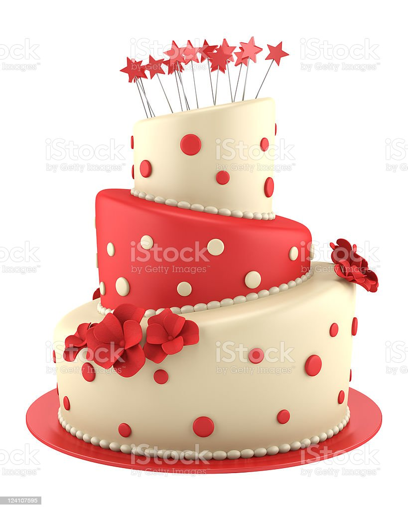 big round red and yellow cake isolated on white background stock photo