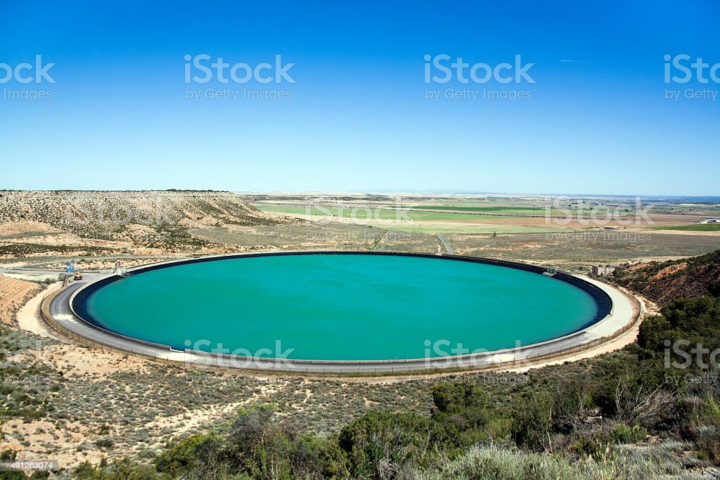 Big Round Water Reservoir stock photo