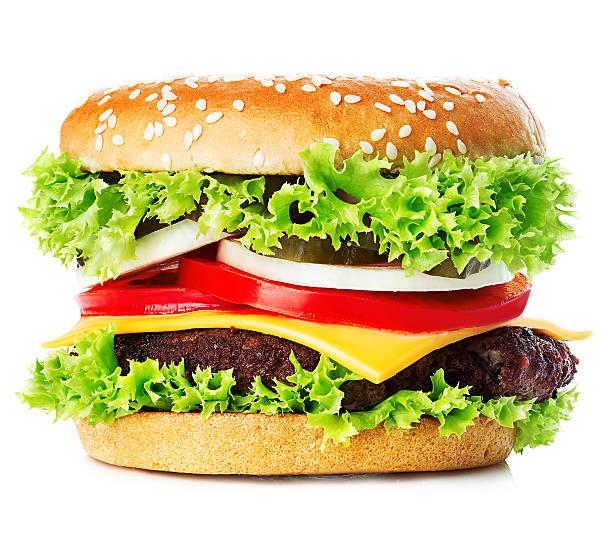 Big royal appetizing burger, hamburger, cheeseburger close-up isolated. stock photo