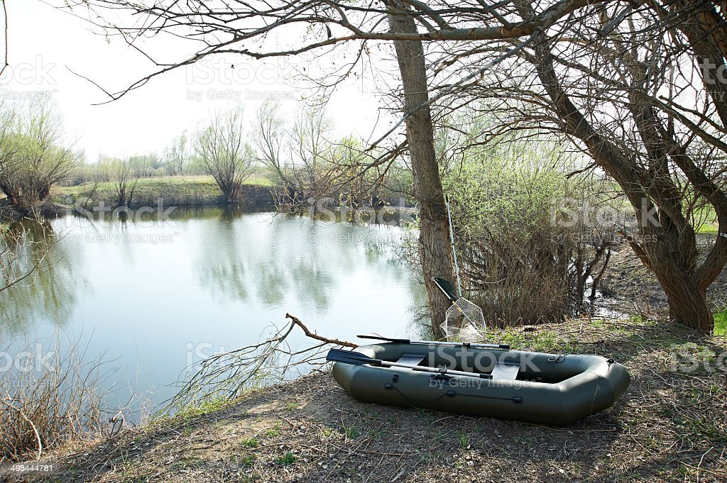 Big rubber boat near lake royalty-free stock photo