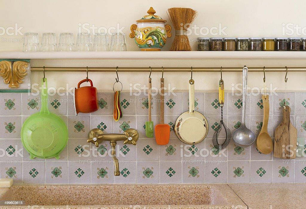 Big Rustic Kitchen Sink With Italian Tile Backsplash Stock Photo